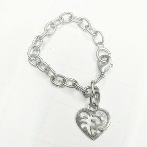 Liz Claiborne Silver Chain Filigree Heart Charm